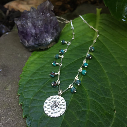 "Hammered Silver ""OM"" & Turquoise Necklace"