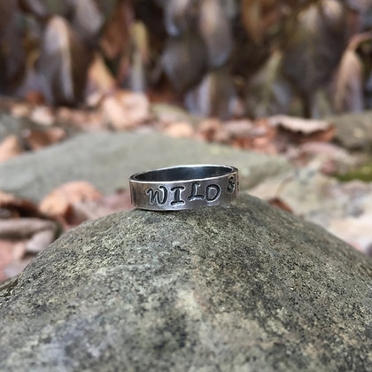 """Wild & Free"" Stamped Sterling Silver Ring (Size 8)"
