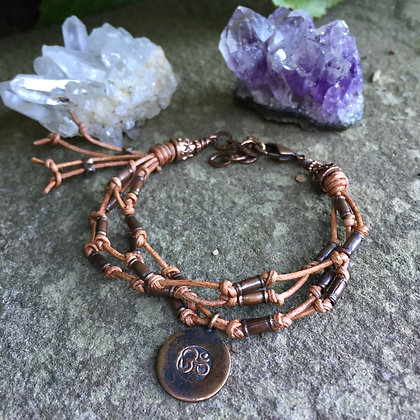"""Leather and Copper """"OM"""" Bracelet"""