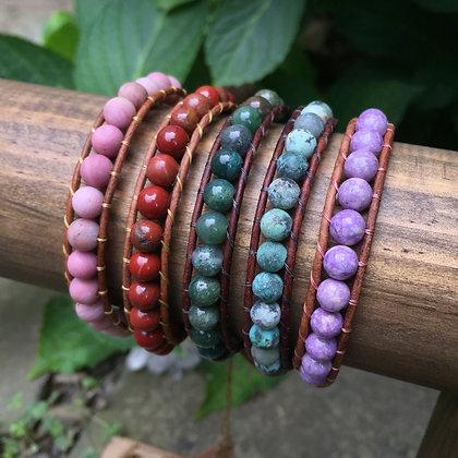 Single Wrap Gemstone Bracelets