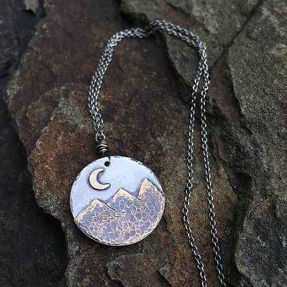 Sterling and Brass Mountain Moon Pendant