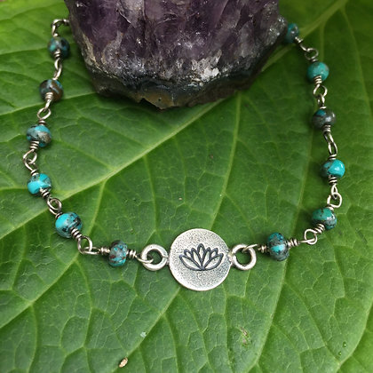 """Wire Wrapped Turquoise """"Lotus"""" Bracelet"""