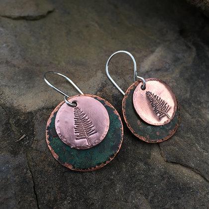 "Antique Green Copper ""Evergreen"" Earrings"