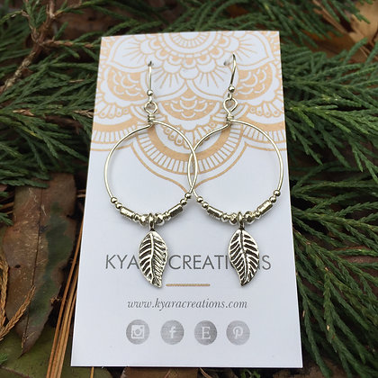 Beaded Leaf Hoop Earrings