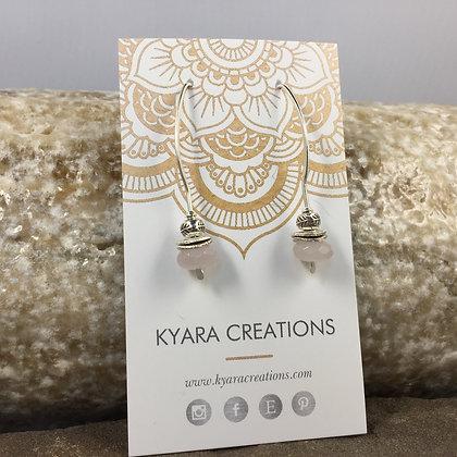 Rose Quartz & Fine Silver Drop Earrings