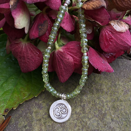"Peridot & Silver ""OM"" Necklace"