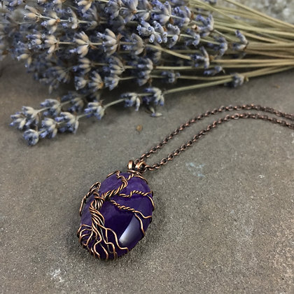 Purple Agate Tree of Life Necklace