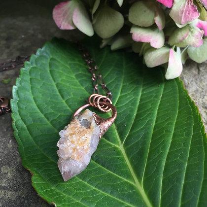 Rustic Electroformed Spirit Quartz Necklace (medium)