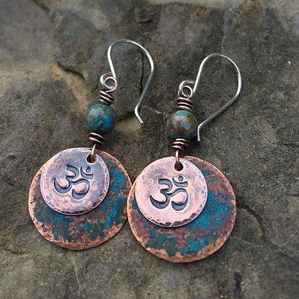 """Antique Blue Copper """"OM"""" Earrings"""