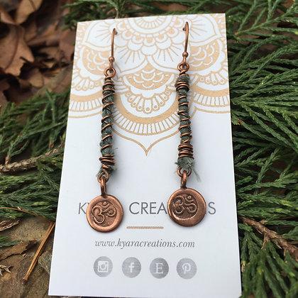 "Sari Silk & Copper ""OM"" Earrings"