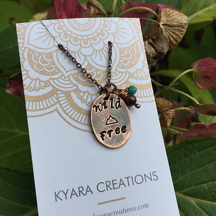 """Stamped Copper Necklace """"Wild & Free"""""""