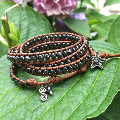 Hematite 4x Gemstone Wrap Bracelet