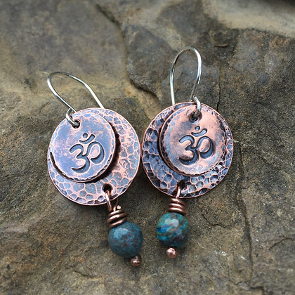 "Hand Stamped & Hammered Copper ""OM"" Earrings"