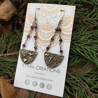 Floral & Wire Wrapped Garnet Drop Earrings