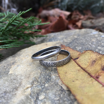 Textured Scroll Ring Set (Size 7)