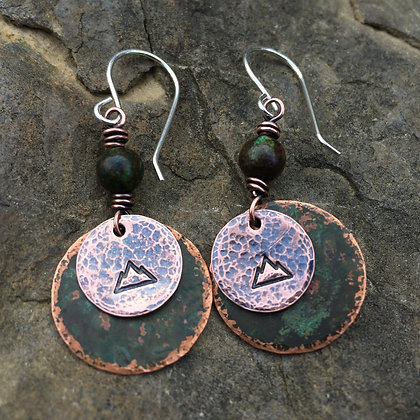 "Antique Green Copper ""Mountain"" Earrings"