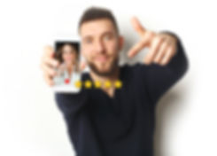 young man hold smarphone white backgroun