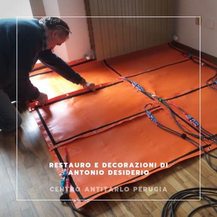 Trattamento pavimento con pannelli a infrarossi MI.TO.S.