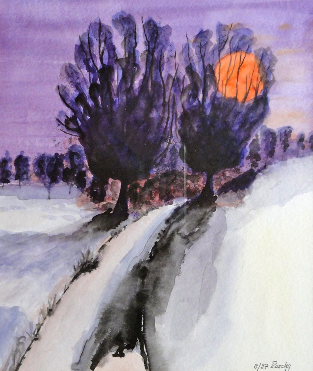 Aquarell, Winterabend