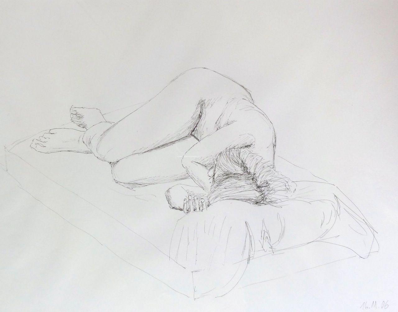 Aktzeichnung, Kugelschreiber,  1