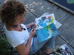 Yvonne Riederer, malt vor Ort