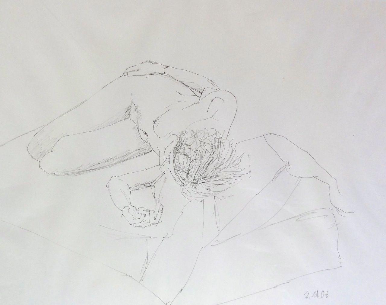 Aktzeichnung, Kugelschreiber,  3