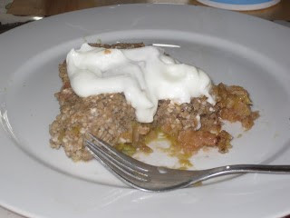 Gluten Free Rhubarb Buckwheat Cobbler - with yogurt on top!