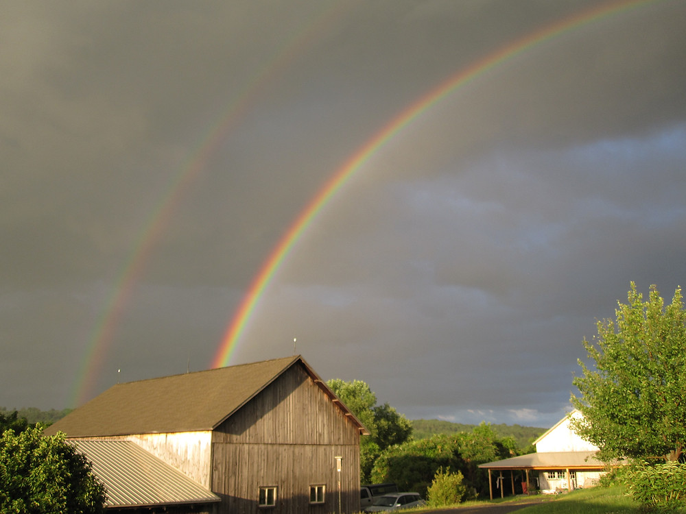 double rainbow over lucky moon farm