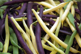 green, yellow and purple beans