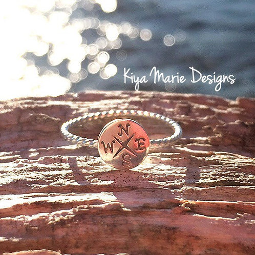 Compass Ring, skinny band stack ring, Sterling Silver Argentium Silver Stack Rin