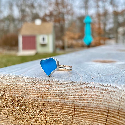 Electric Blue Triple Band Mixed Metal Ring
