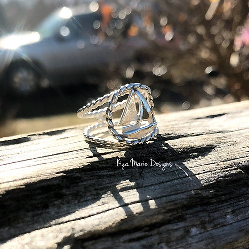 Sailboat ring, sterling silver sailboat, sail away with me, ocean jewelry, sea w