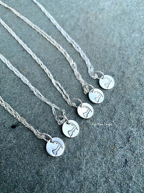 Baby Cod Necklace, Cape Cod Map Necklace