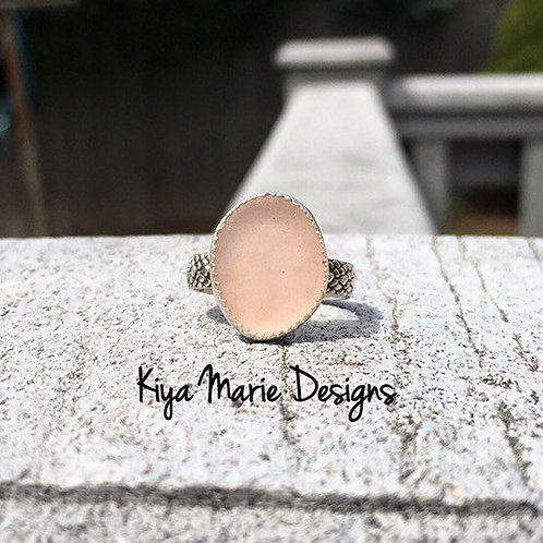 Sea Glass Ring, engagement ring, bezel set in fine & argentium silver, Puerto Ri