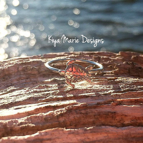 Sea Turtle Ring, Skinny band stack ring, Sterling Silver Argentium Silver Stack