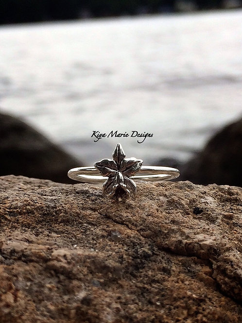 Lotus Flower Ring, little flower ring, Skinny band stack ring, Sterling Silver A