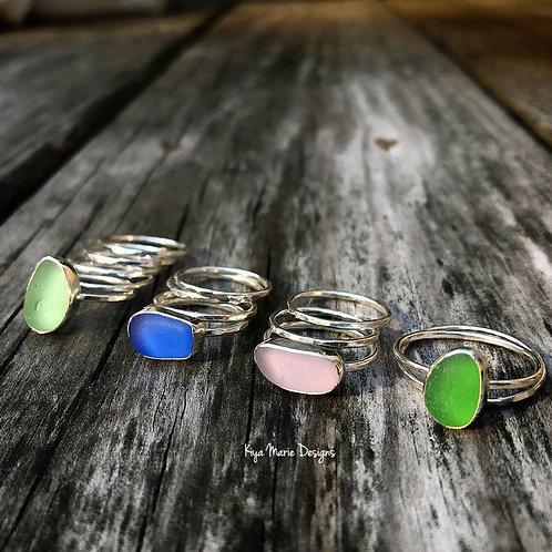 Custom Sea Glass Stacking Ring Set, Sea Glass Ring, Stacking Rings, Argentium Si