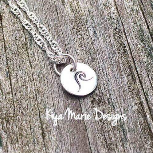 Wave necklace, sterling silver wave, handstamped jewelry, handstamped wave, ocea