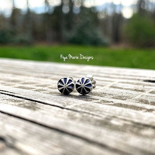Star studs/pinwheel abstract earrings/recycled silver earrings/argentium silver/