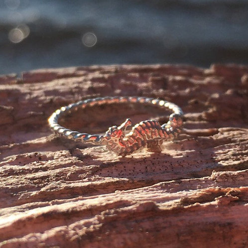 Seahorse Ring, skinny band stack ring, Sterling Silver Argentium Silv