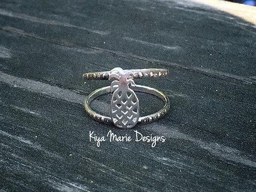 Pineapple ring, sterling silver pineapple, hawaiian jewelry, ocean jewelry, sea