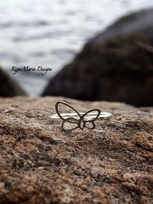 Butterfly jewelry, silver butterfly ring, Skinny band stack ring, Sterling Silve