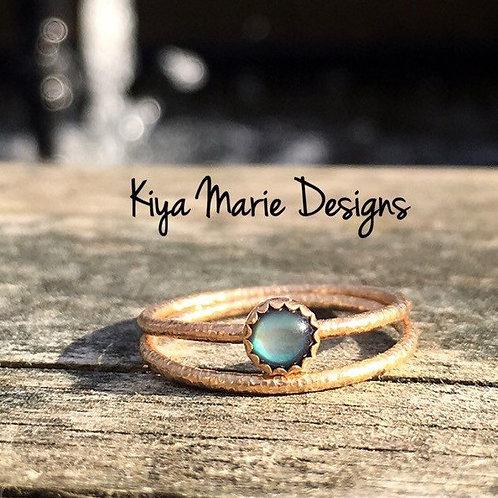 Abalone (paua) shell ring, skinny band stack ring, 14k gold, stacking rings, gol