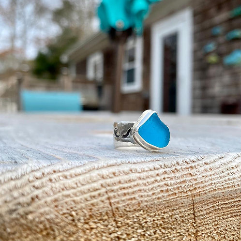 Electric Blue Wave Ring