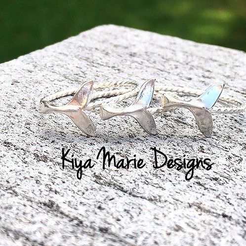 Mermaid tail Ring, whale tail ring, skinny band stack ring, Sterling Silver Arge