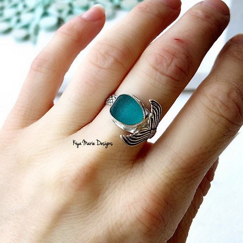 Sea Glass Mermaid Ring, Sterling Silver Mermaid Tail Ring, Mermaid jewelry, Ocea