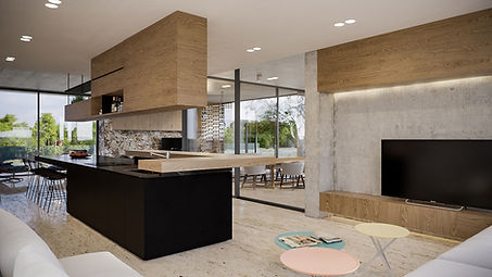 render of contemporary kitchen design showcasing rich materiality
