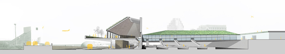 cleveland train station competition section drawing landscape architectural design