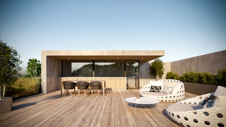 beautiful roof garden view from the rooftop of the muse apartments by ekky studio architects