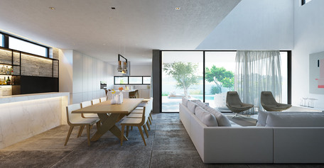 kitchen and living room area modern architecture by ekky studio architects in nicosia cyprus
